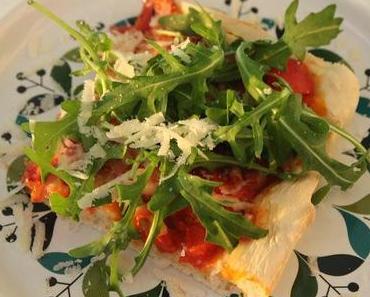 rucola-pizza mit spezialteig
