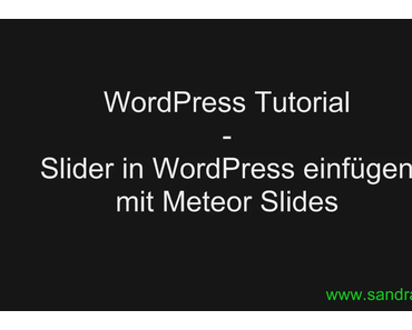 WordPress Tutorial: WordPress Plugin Meteor Slider