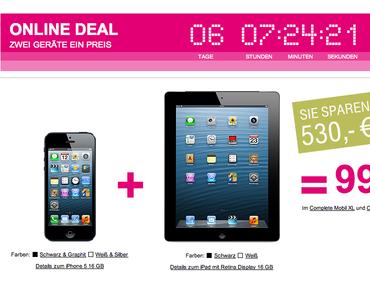 Telekom Online Deal: iPhone 5 + iPad 4 bestellen, 530 Euro sparen, 3 Monate LTE gratis