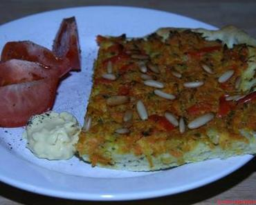 Flamiche provencale – Provenzalischer (veganer) Blechkuchen mit Karotten und Paprika