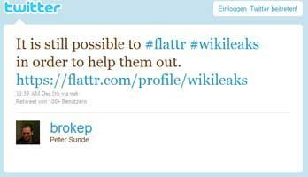 Wikileaks unterstützten trotz des Boykotts der Unternehmen - via Flattr