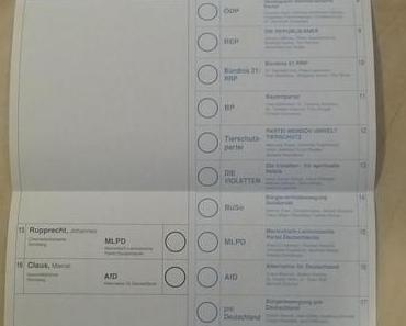 Bundestagswahl 2013 – AfD auf dem Stimmzettel leicht versteckt