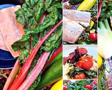 Buntes Mangold - Gemüse mit Zucchini und Lachs...