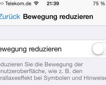 iOS 7: Parallax-Effekt deaktivieren