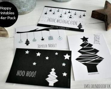 Lovely Printables - Weihnachtskarten zum Gratis Download Black & White Inspiration