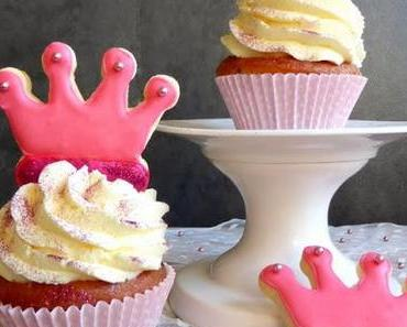 Glitzer-Krönchen; Schokochip & Himbeere Cupcakes