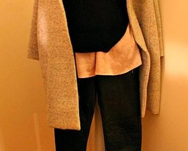 Outfit des Tages: pale pink Silk Blouse, cropped Pullover and Oversized coat