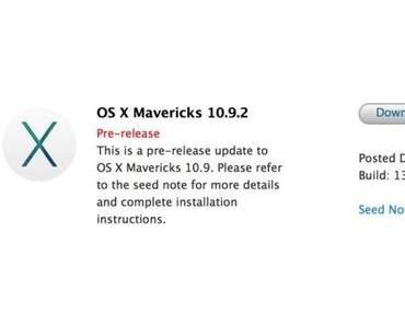 Apple verteilt OS X Mavericks 10.9.2 Build 13C39 an Entwickler