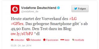 Vodafone startet Vorverkauf Des LG G2 flex