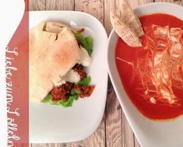 liebe zum löffeln // ihrs: tomatensuppe // seins: pita mit tomaten-hackfleisch-füllung