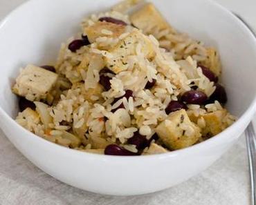Kokosreis mit Bohnen und Tofu