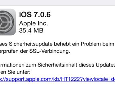 Apple veröffentlicht iOS 7.0.6 mit SSL-Bugfix, OS X weiterhin betroffen