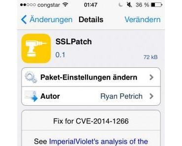 iOS 7.0.6 Jailbreak: SSLPatch in Cydia macht gejailbreakte Geräte sicher
