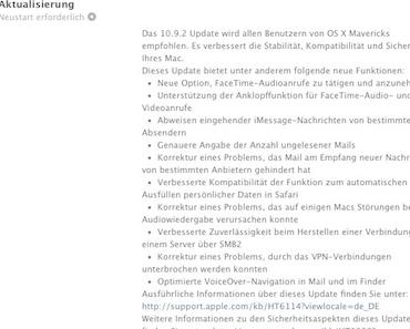 Apple veröffentlicht Mac OSX 10.9.2 mit goto-fail SSL-Bugfix