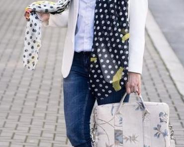 Outfit: Schwarz Weiß Gepunkteter Frühlingslook