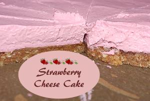 Roh veganer Erdbeer-Käse-Kuchen