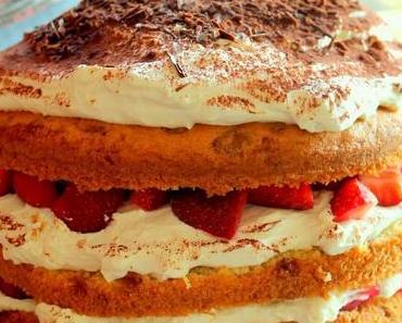 Tiramisu-Torte mit Erdbeeren zum Muttertag ♥ Danke Mama ♥