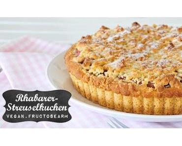 Rhabarberkuchen mit Streuseln vegan & fructosearm