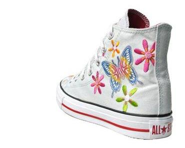 #Converse Chucks 2U924 White Butterfly Flowers sooo süß mit Blumen