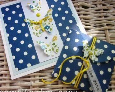 Gutschein-Verpackung mit passender Karte & Schmetterlinge