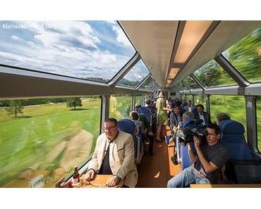 Jungfernfahrt des Panoramawagens der Mariazellerbahn