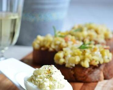 Kulinarisches | Improvisierte Rheinische Tapas: Apfel-Speck-Bruschetta mit Rosmarin und gefüllte Eier