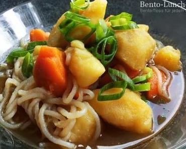 Rezepte: Gemüse Nikujaga mit Shirataki-Nudeln (Kartoffel-Eintopf)