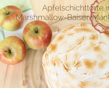 Apfelcreme-Schichttorte im Baiser-Mantel