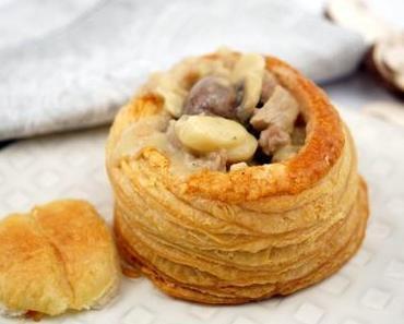 Königin-Pasteten mit cremigem Kalbfleisch-Pilz-Ragout
