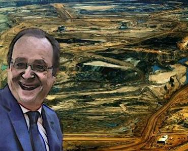 Hollande TOTAL verölt mit dem Kopf im Ölsand