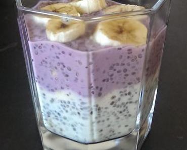 Pfirsich-Heidelbeer-Chia-Pudding mit Bananen (vegan)