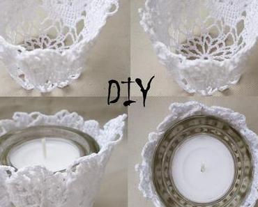 DIY Teelichthalter aus Spitzendeckchen