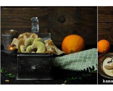 Pistazienkipferl mit Orangen-Kardamomzucker und ein Plädoyer für das Plätzchen