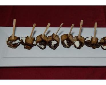 Datteln mit Ziegenfrischkäse umwickelt mit Räuchertofu (lacto-vegetarisch)