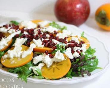 Salat mit Kaki, Burrata und Granatapfel - gesund in's neue Jahr