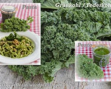 Grünkohl / Federkohl: Pasta mit Pesto (zufällig vegan)