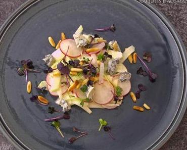roh. Kohlrabi, Apfel und Gorgonzola