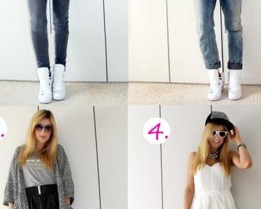 1 Teil – 4 Looks: Weiße High-Top-Sneakers