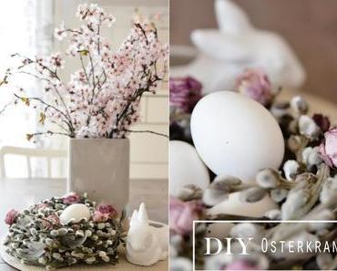 DiY Palmkätzchen-Kranz mit Federn und Rosen