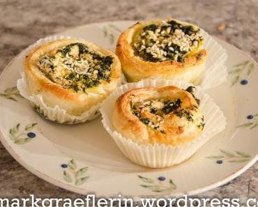 Schnelle Idee für's Osterbrunch: Blätterteigschnecken mit Spinat und Feta aus der Muffinform