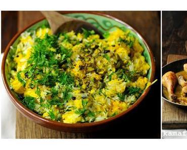 Persischer Kräuter-Safran-Pistazienreis mit Berberitzen und Zitronen-Knoblauchhuhn