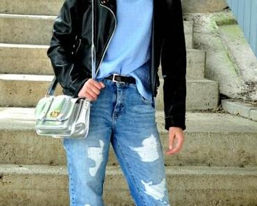 Outfit - Boyfriendjeans and Silver shoes