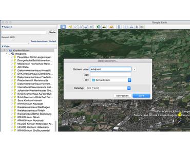 Wie kann eine mit Google Earth erzeugte Wegpunktdatei im KML Format in das CSV Format umgeformt werden (KML to CSV)?